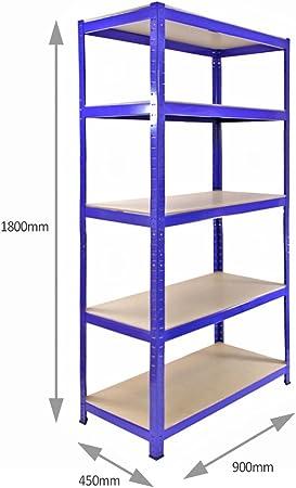 T Rax Garage Shelving Unit 5 Tier Heavy Duty Rack For Storage Steel Utility Shelves Metal Mdf Boltless Racking Assembly System 180cm X 90cm X 45cm 280kg Per
