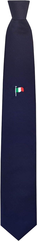 Uomo Made In Italy Remo Sartori Cravatta Tricolore Bandiera Italiana Ricamata Seta Blu