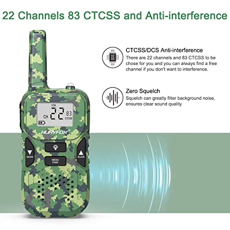 Walkie Talkie for Kids- Two Way Radio Toys with 22 Channels 83 Privacy  Codes-Rechargeable Long Range Walky Talky with VOX Function for  Camping,Hiking,