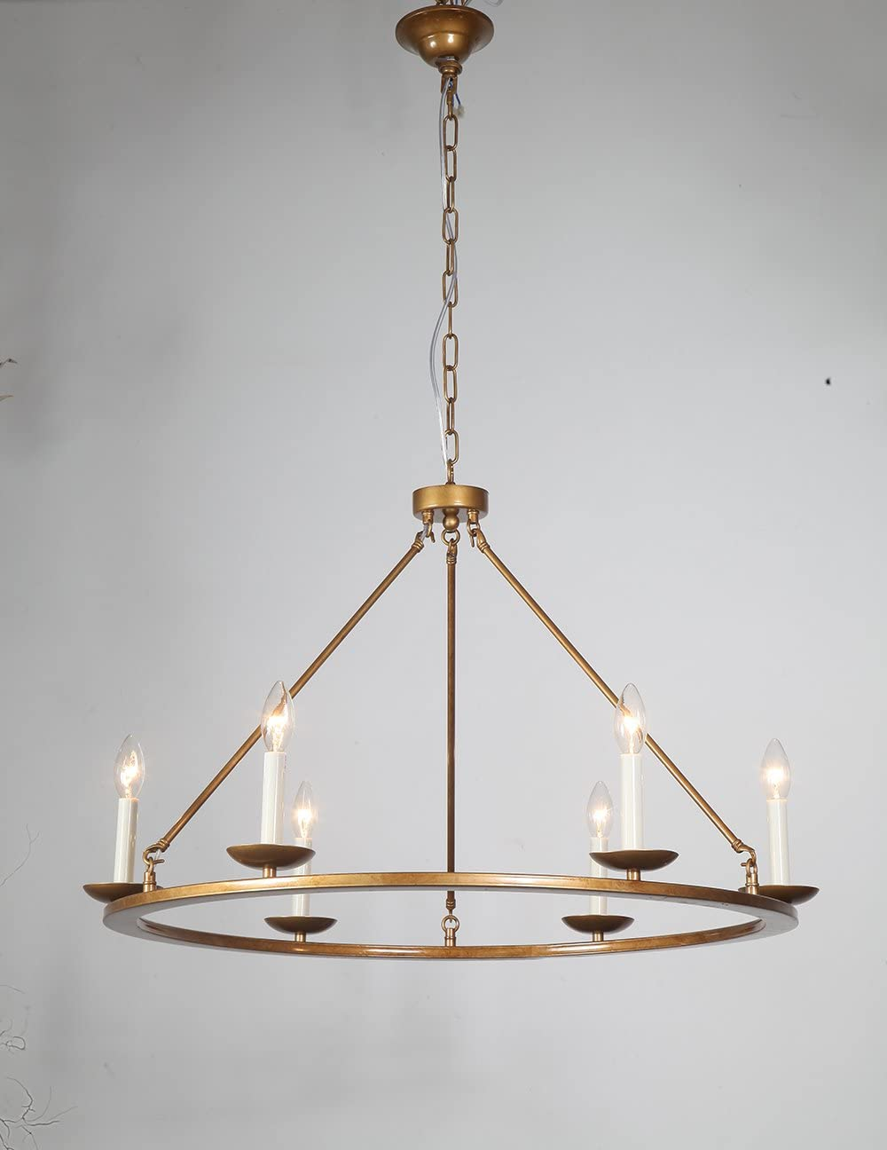Kitchen Island Pendant Light, A1A9 Retro Round Candle LED Chandelier Lighting Wagon Wheel Ceiling Lights for Farmhouse, Dining Room, Table Light, Entryway, Hallway, Foyer, D30 X H23 Chain 59