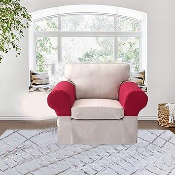 KOBWA Par de fundas Surtex para el reposabrazos del sofá y sillón de Tela elástica, Protectores de reposabrazos Antideslizantes para sillas, no se desliza, ...