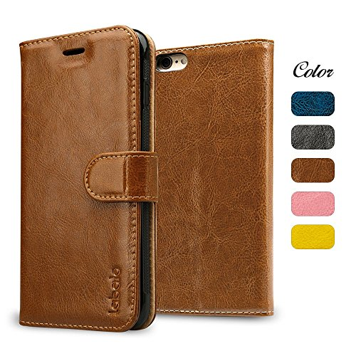 iPhone 6S Case, iPhone 6S Wallet Case, Labato Genuine Leather Magnetic Smart Flip Folio Case Cover with Card Slot Cash Compartment Compatible for Apple iPhone 6/6S Brown 4.7 inch Lbt-I6S-07Z20