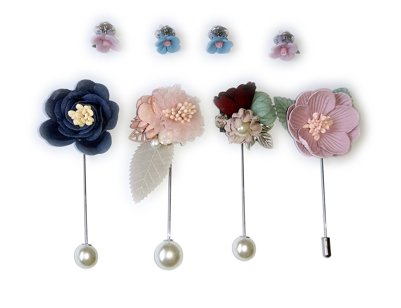 BagTu Handmade Cloth Lapel- Contrast Color Flower Boutonniere Pin Gift Box Set with a Greeting Card (Blue)