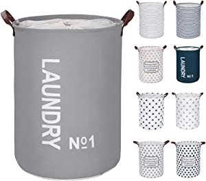 "FRIENDIY Large Laundry Hampers (9 Colors), Removable Laundry Basket, Foldable Fabric Laundry Basket, Drawstring Waterproof Round Cotton Linen Storage Basket. (Gray, Thickened 19""/Large)"