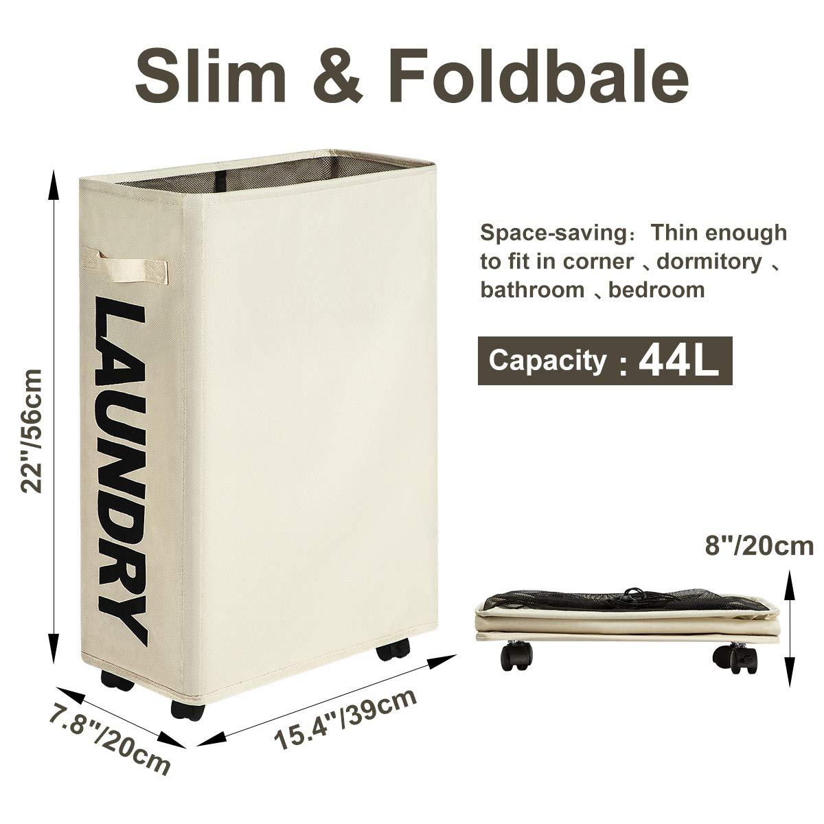 WOWLIVE Slim Laundry Basket Hamper on Wheels Collapsible Rolling Foldable Laundry Bin 44L(Beige)