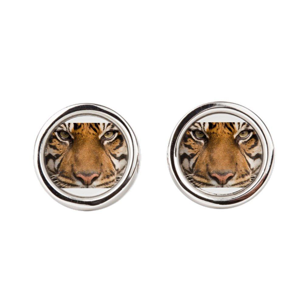 Round Royal Lion Cufflinks Sumatran Tiger Face