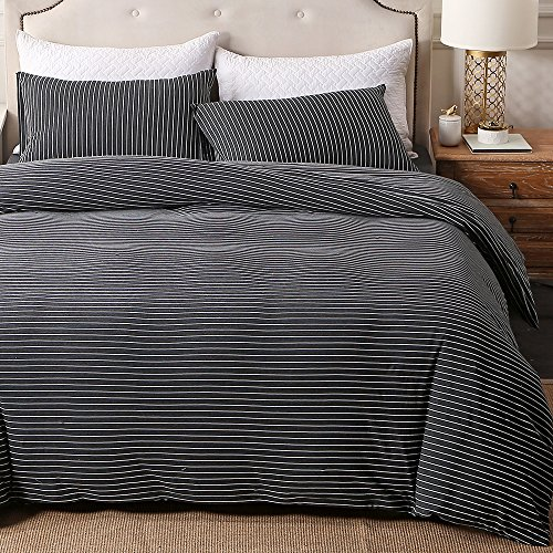 Luxury Pima Classic Knit Shirt (PURE ERA Striped Cotton Jersey Knit Duvet Cover Set Ultra Soft Comfy Zippered Luxury Bedding Sets With Corner Ties - Black White Queen)