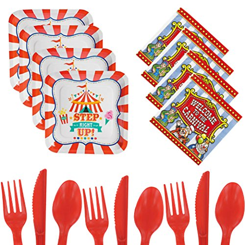 Carnival Birthday Party Supplies For 16 - Plates, Napkins, Cutlery - Circus Fair Themed Step Right Up Party Pack - Toddlers, Girls, Boys, Kids, Adults Bundle (Vintage Circus Themed Centerpieces)