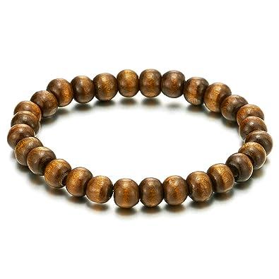 69393fd10395c COOLSTEELANDBEYOND Classic Mens Womens Wood Beads Bracelet, 8mm Tibetan  Beads Prayer Mala, Stretchable