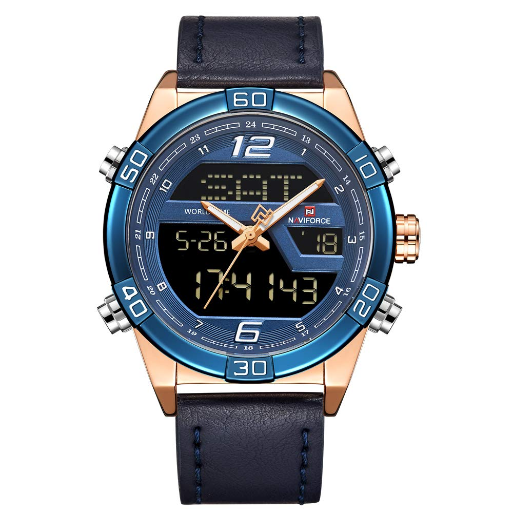 4474228935 Digital Watches for Men Waterproof Leather Band Sport Watch with Alarm  Military Dual Time Wristwatch