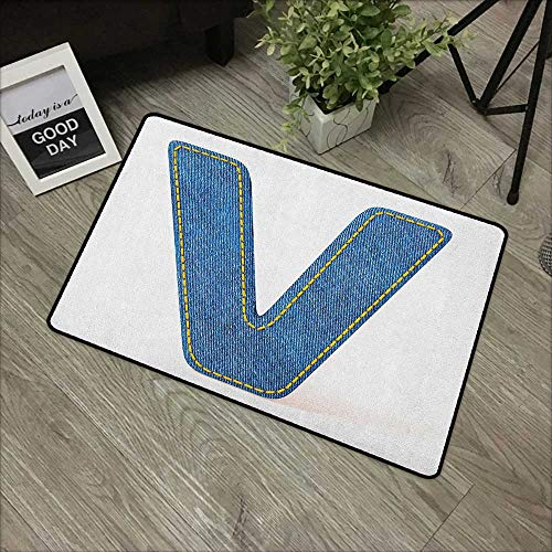 - Clear printed pattern door mat W19 x L31 INCH Letter V,Clothing Fashion Style Theme with Majuscule V Alphabet Symbol Modern Collection, Blue Yellow Non-slip, with non-slip backing,Non-slip Door Mat Ca