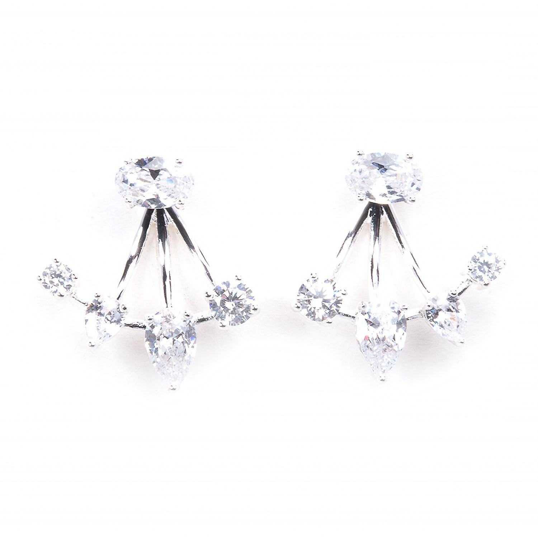 Cubic Zirconia Stud Earrings with Ear Enhancer - Silver