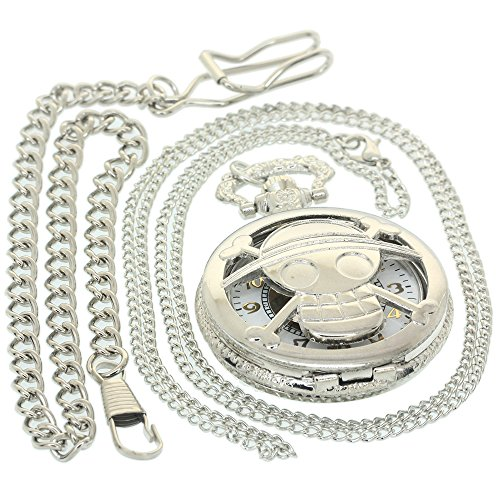 One Piece Comics Hollow Men Luffy Theme Skull Bone Fob Quartz Pocket Watch Gift to Boys Girls Janpanese Animation Antique Silver Necklace Women Clock Fob Watch 1 PC Necklace 1 PC Clip Key Rib Chain ()