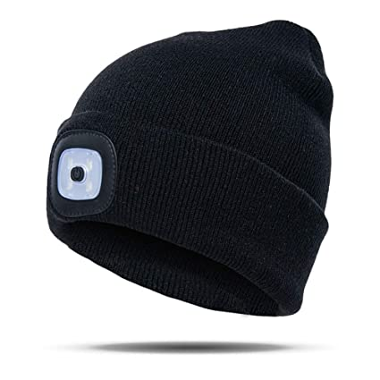28a3a742385 Amazon.com  4 LED Knit Hat