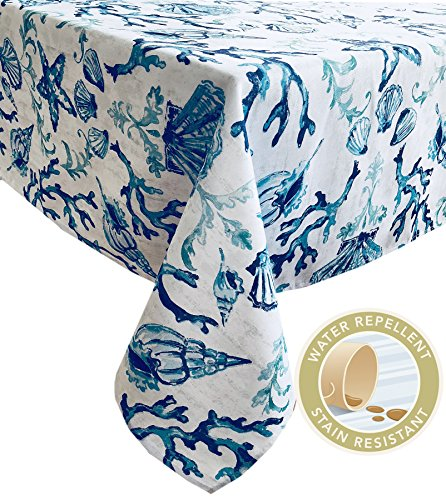 - Newbridge Blue Lyra Coral Reef Summer and Spring Indoor/Outdoor Soil Resistant and Water Repellent Fabric Tablecloth - Patio, Picnic, BBQ, Kitchen Table Linens, 60 Inch X 102 Inch Oblong/Rectangular