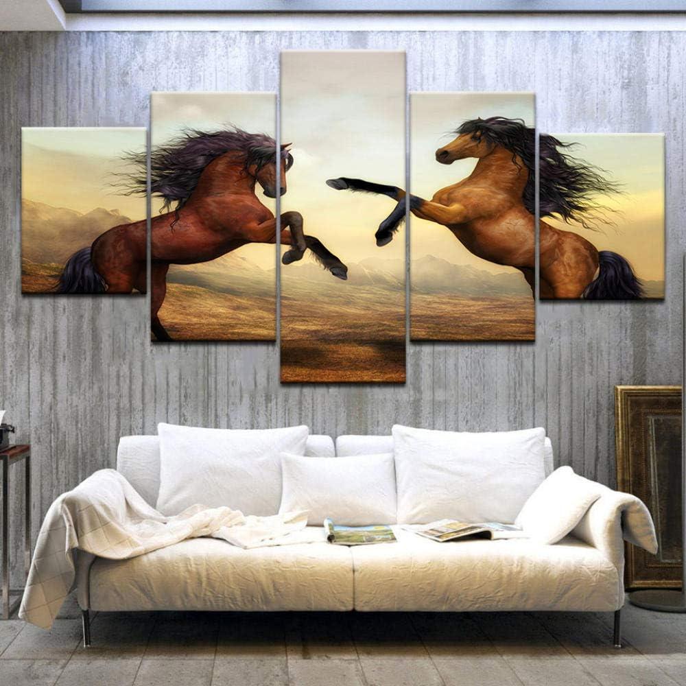 HUA JIE Lienzo, Arte de Pared, Arte de Pared sobre Lienzo, Pintura sobre Lienzo, Sala de Estar Dormitorio Decoraciones para el hogar Oficina Pareja de Caballos Rojos Pintura