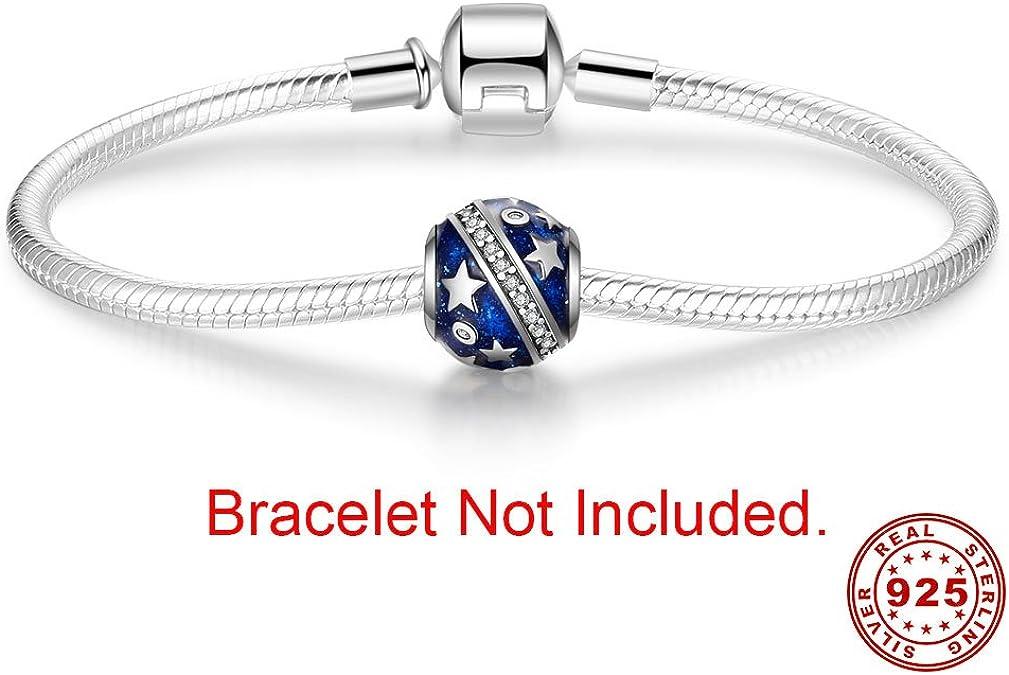 Argent sterling 925/authentique Compatible avec bracelet europ/éen Breloque en forme de lettre de lalphabet