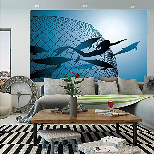 SoSung Mermaid Decor Wall Mural,A Mermaid Rescues Flight of Dolphins from a Fishing Net Freedom Diver,Self-Adhesive Large Wallpaper for Home Decor 83x120 inches,