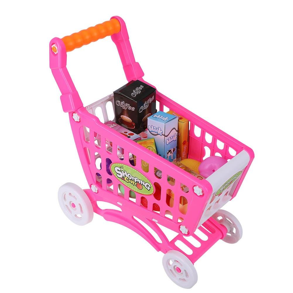 Amazon.com: Kids Shopping Cart Precious Toys Kids Toddlers Pretend Role Play Food Fruits Playing Game with Groceries(Rosy Red with Food): Toys & Games