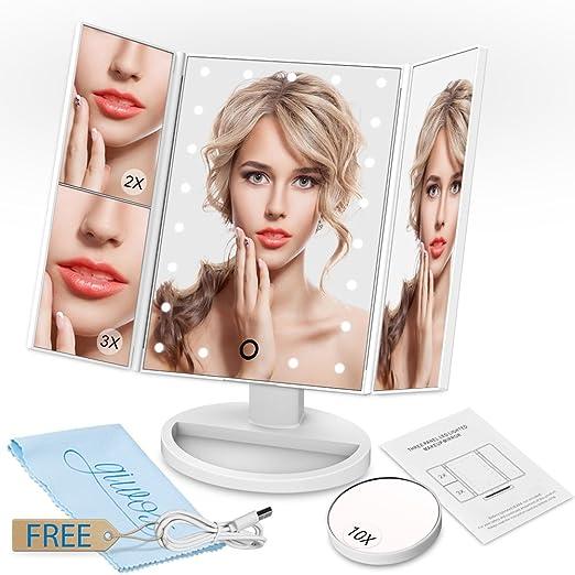 21 opinioni per Giwox Specchio per Trucco Cosmetico LED Razor Illuminazione Schermo Tattile Luci