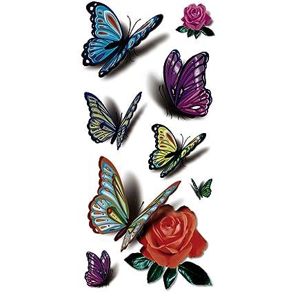 Amazoncom Taflytm 5 Sheets Waterproof 3d Blue Butterfly Rose