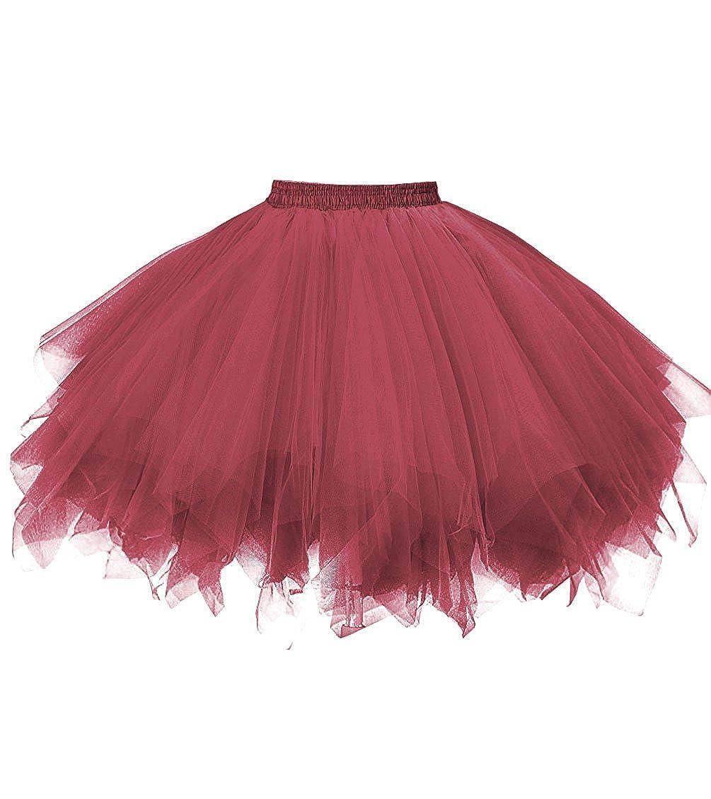 Dark Red Dresstore Women's Short Vintage Petticoat Skirt Ballet Bubble Tutu Multicolord