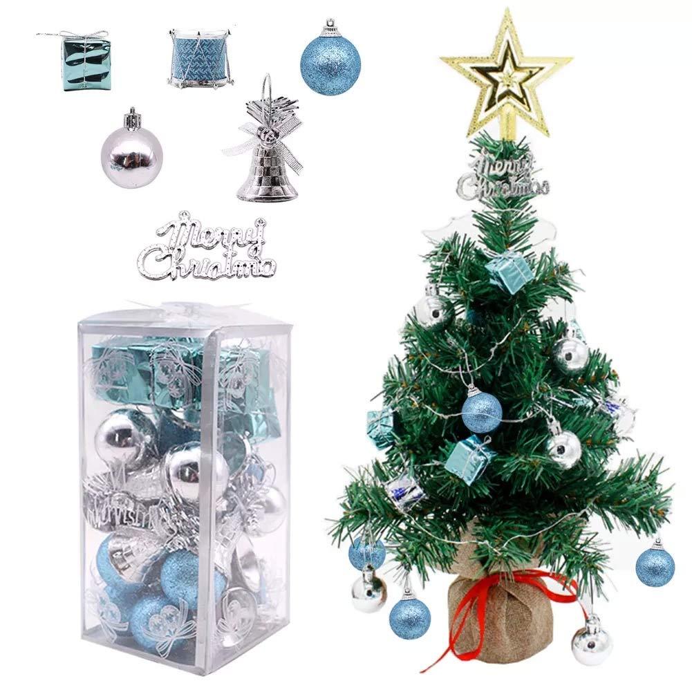VGoodall 32pcs Christmas Ball Ornaments,Shatterproof Christmas Pendants Ornaments Set Assorted Xmas Tree Ornaments with Reusable Gift Box for Santa Holiday Wedding Party Decoration(Blue & Silver)
