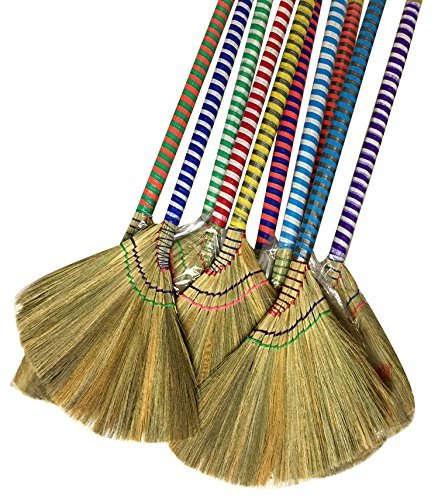 choi bong co Vietnam Hand made straw soft Broom with colored handle 12 head width, 38 overall length by Gemini Kaleidoscopes