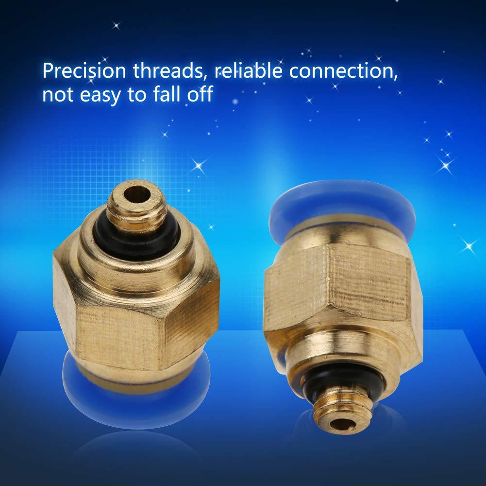 Conectores Neum/áticos de Liberaci/ón R/ápida de Tubo de Aire de 4mm Conexiones Rosca macho Conector de empuje recto PC4-M5 20pcs