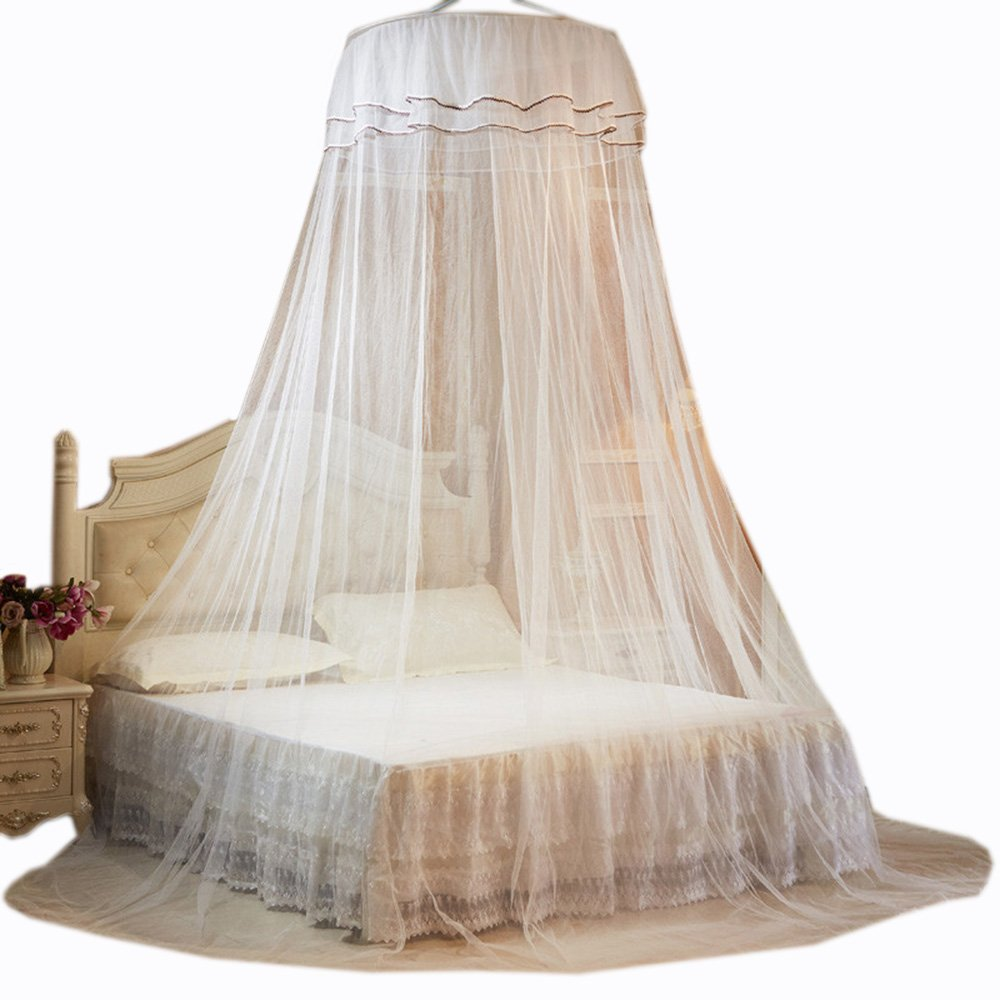 Guerbrilla Round Hoop Princess Girl Pastoral Lace Bed Canopy Mosquito Net Fit Crib Twin Full Queen Bed, Lace Bed Canopy Netting Bedroom Decorative Dome Mosquito Net (white)