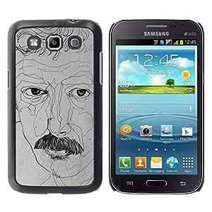 Retrato del artista Art Dibujo del bigote- Metal de aluminio y de plástico duro Caja del teléfono - Negro - Samsung Galaxy Win I8550