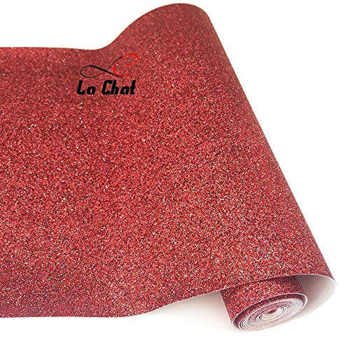 [해외]La Chat 8\u201d x 53\u201d (21cm x 135cm) Roll Sparkly Superfine Glitter Vinyl Fabric Fine Glitter PU Leather Canvas Back Material for Shoes Bag Sewing Patchwork DIY Bow Craft Applique(red) / La Chat 8 x 53 (21cm x 135cm) Roll Sparkly Su...