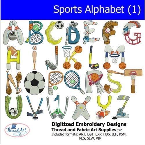 (Threadart Machine Embroidery Designs -Sports Alphabet 1 - USB Stick)