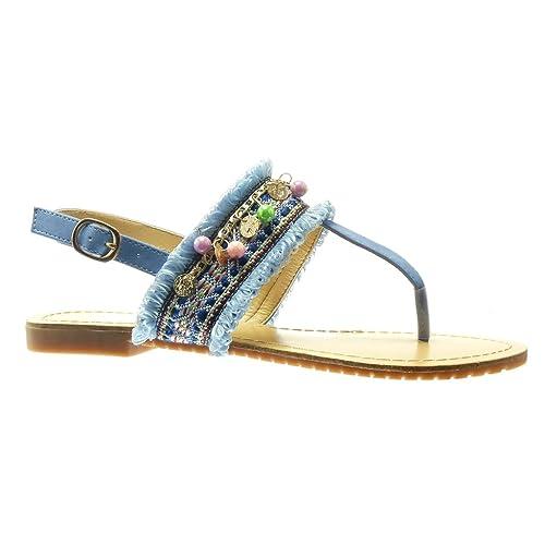 831d0a51179 Angkorly Chaussure Mode Sandale Tong Salomés Femme Brodé Bijoux Fantaisie Talon  Plat 1.5 cm - Bleu