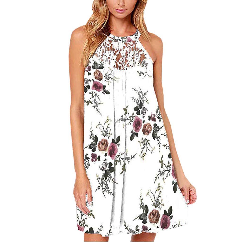 Kiasebu Womens Casual Halter Sleeveless Boho Floral Print Beach Mini Short Dress with Pocket