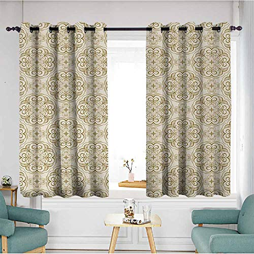 (duommhome Beige Printed Curtain Baroque Floral Motif Western Classical Dramatic Era Art Antique Renaissance Nostalgic Home Garden Bedroom Outdoor Indoor Wall Decorations 63