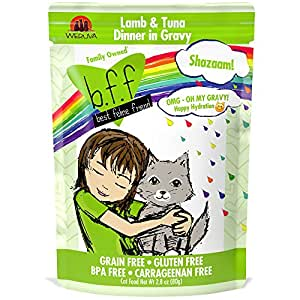 B.F.F. OMG - Best Feline Friend Oh My Gravy!, Shazaam! with Lamb & Tuna in Gravy Cat Food by Weruva, 2.8oz Pouch (Pack of 12)
