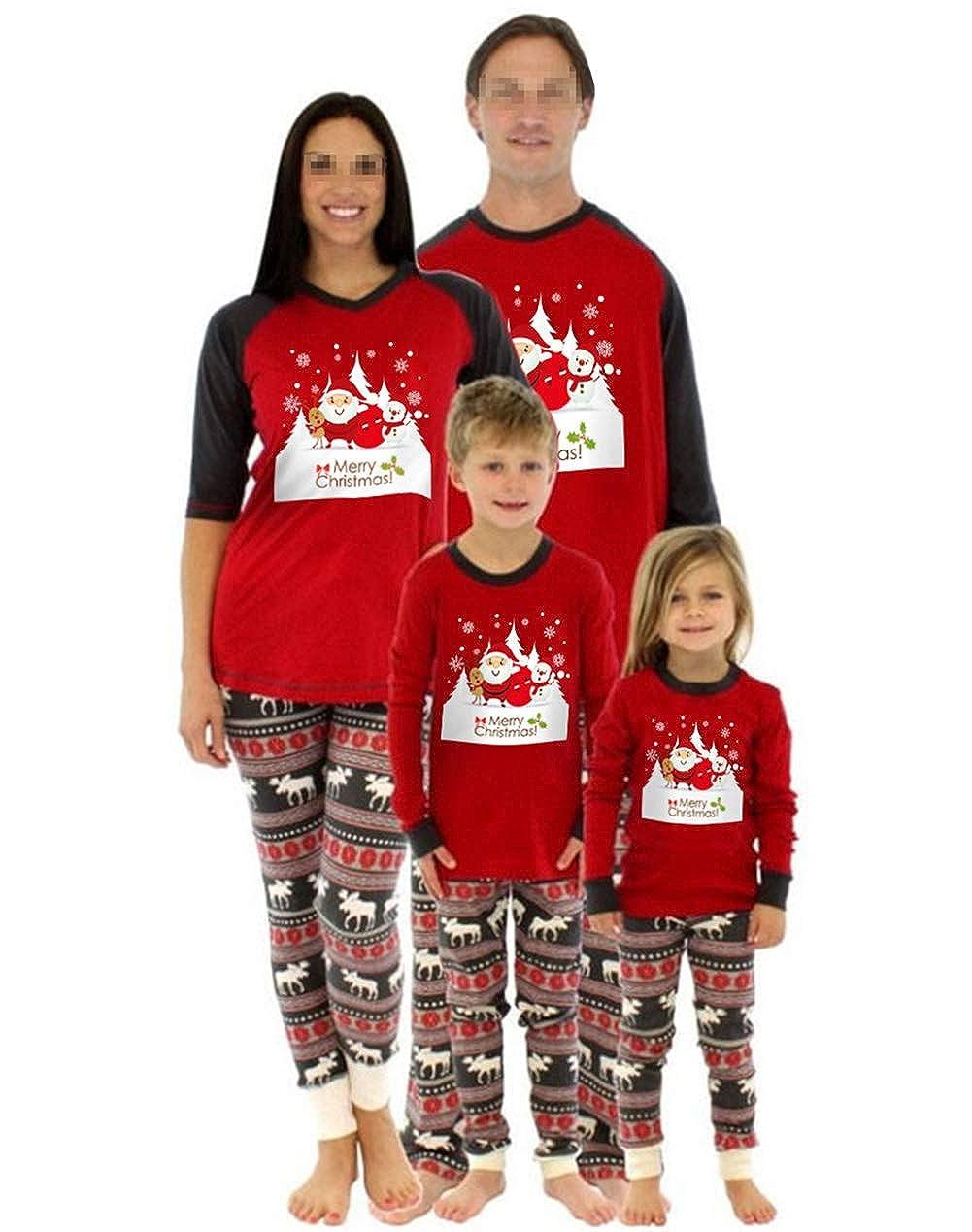 2Pcs Holiday Family Matching Christmas Pajamas Outfits Santa Deer Xmas Sleepwear Nightwear Homewear