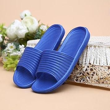 Sandalias para hombre, RETUROM Moda Hombre Stripe interior y al aire libre plana baño zapatilla sandalias de playa (42, Armada)