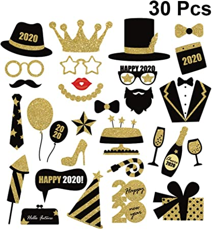 Occhiali Febbya Photo Booth Props Baffi Cappelli per Matrimonio Compleanno Capodanno Bomboniere 46 PCS Happy New Year Party Decoration Kit Riutilizzabile e Robusto con bastoni