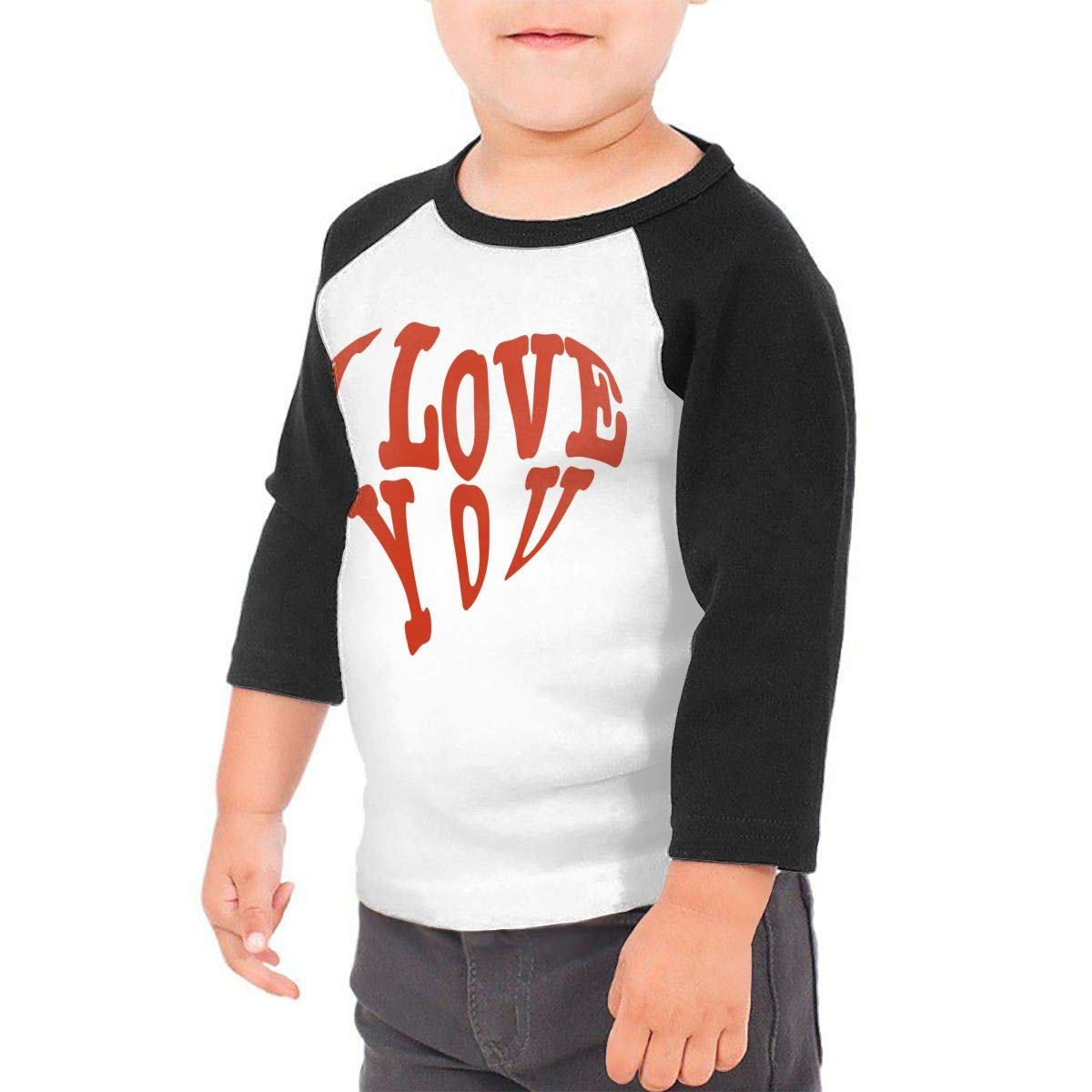 I Love You Unisex Toddler Baseball Jersey Contrast 3//4 Sleeves Tee