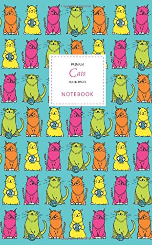 Cats Notebook - Ruled Pages - Premium: (Turquoise Edition) Fun notebook / jotter with 96 ruled / lined pages - A5 / 5x8 inches / 12.7x20.3cm / Junior Legal Pad (Premium Edition Dance Pad)