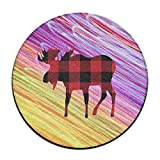 Yiot Buffalo Plaid Moose Lumberjack Red Black Design Rug Non-Skid Rubber Backing Area Rug For Living Room/dining Room/bedroom/foyer/playroom Diameter Size: (23.6/0.4) Inch