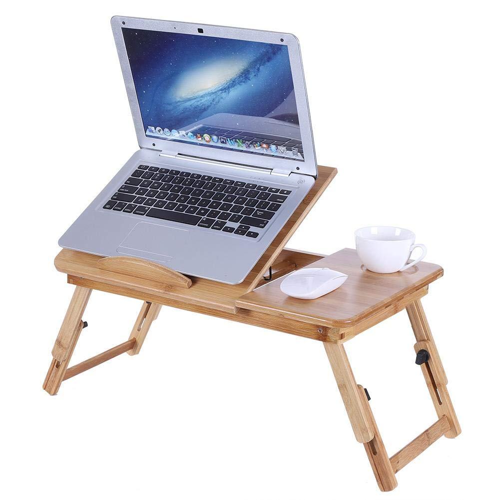 Fdit Socialme-EU Escritorio de Cama de Portátil Ordenador de Cama Bambú Plegable Escritorio de Computadora Portátil Regazo Ajustable Bandeja Desayuno (con cajón) 7b0104