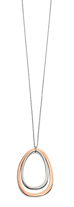 Fiorelli Costume Core Rose and Silver Oval Cut Out Necklace of Length 61.5cm LqvSLrc