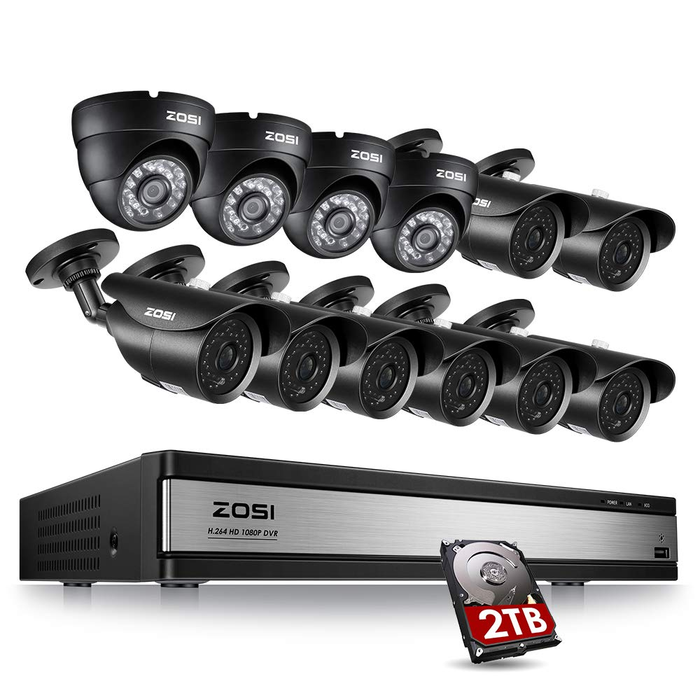 ZOSI 16CH 1080P Security Camera System- 16 Channel dvr with 12PCS Cameras 2TB HDD for Outdoor Indoor Surveillance with Remote app 120ft Night Vision Motion Detection
