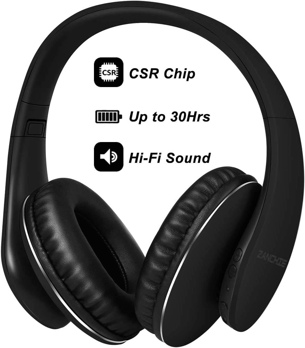 Bluetooth Headphones Over Ear, Hi Fi Stereo Wireless Headset, Foldable Soft Memory-Protein Earmuffs, 30Hrs Playtime, w Built-in Mic and Wired Mode for Cell Phones PC TV Girls Women Black