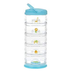 Innobaby Packin' Smart Stackable and Portable Storage System for Formula, Baby Snacks and More. 5 Stackable Cups in Blueberry Sorbet. BPA Free.