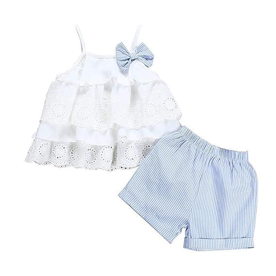 Ropa Bebe Niña Verano Fossen Recién Nacido 6 Meses a 3 Años Camiseta sin Mangas de Encaje+ Pantalones Cortos a Rayas Conjuntos/2pc