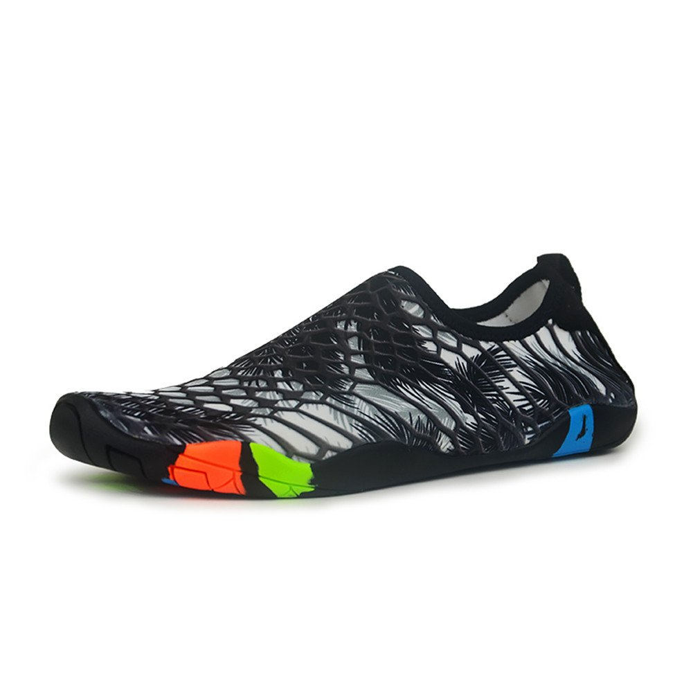 FLORENCE IISA Mens Womens Water Shoes Quick Dry Aqua Socks Unisex Beach Swim Shoes Barefoot Water Sports Shoes (43,BKGYWH)